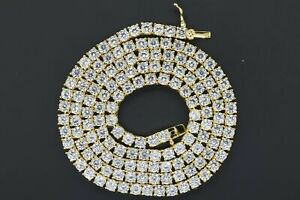 14KYellow Gold Plated Silver Cubic Zirconia 3mm Tennis Choker Chain Necklace