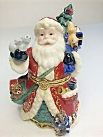 Ceramic Trinket Box Santa Claus Toys Gold Hinged Christmas Tree Holiday Xmas 6""