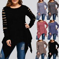 Plus Size Women Long Sleeve Irregular Hem Blouse Fashion T-Shirt Blouse Tank Top