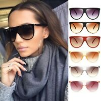 Large Vintage Retro Designer Flat Top Aviator Cat Eye Oversized Women Sunglasses