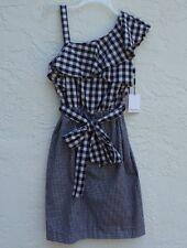 NWT CK Calvin Klein One Shoulder Strap Dress Plaid Black White SZ 6
