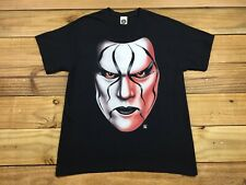 WWE Sting Black & White Face Paint Crow Wrestling T-Shirt L Stinger WCW NWO WWF