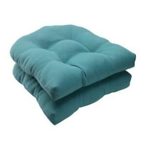 Pillow Perfect 507088 Forsyth Turquoise Wicker Seat Cushion (Set of 2)