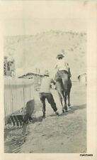 C-1908 Western Rural Life Pulling Horse Tail Log Cabin RPPC real photo 9677