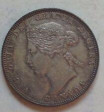 1870 AU Canada Silver 25 Cent Coin Canadian Twenty-Five Cents Quarter