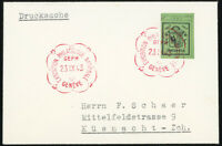 SCHWEIZ 1943, MiNr. 423 R, Einzelmarke aus Bl. 10, schöne Drucksache, CHF 50,-