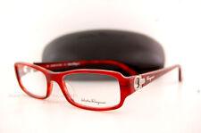 Brand New SALVATORE FERRAGAMO  Eyeglass Frames SF 2600 620 Red Horn Women SZ 53