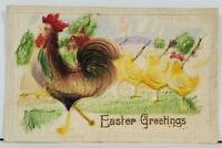 Easter Greetings Heavy Embossed Rooster & Chicks c1910 Postcard E7