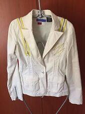 Triple Five Soul Blazer Jacket, White with Yellow Stripes, Size XS