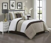 7 Piece Luxury Quilted Patchwork Comforter Set Bed In A Bag,Queen Size,Taupe