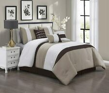 7 Piece Luxury Quilted Patchwork Comforter Set Bed In A Bag,King Size,Taupe