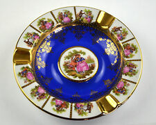 Bavaria Fine China Porcelain Ashtray Schaller Wiesau Blue Gold Germany German in