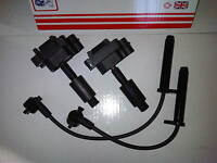 FORD GALAXY & TRANSIT 2.3 PETROL & LPG 2x NEW IGNITION COILS + PLUG HT LEADS