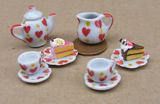 1:12 Scale Ceramic 8 Piece Dolls House Tea Set With A Heart Motif & 2 Cakes