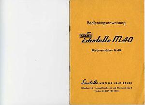 Bedienungsanweisung Klemt-Echolette M40-Mischverstärker