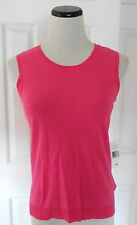 New LAUREN by RALPH LAUREN Pink Linen Blend Sleeveless Crewneck Sweater/Vest, XS