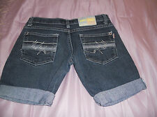 ZIPPY ZIGGY Dark Blue Denim Shorts Sz,26  Stretch Denim Cut-offs Rolled leg
