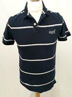 Superdry Polo Shirt - Size L - Navy & White Stripes - 100% Cotton