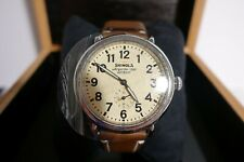 Shinola Argonite 1069 Detroit Sapphire Crystal Stainless Steel Watch Leather