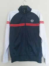 Sergio Tacchini Tracksuit Top Jacket Mens Size Large Navy and White Sleeves