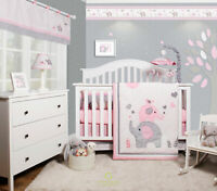 6-Piece Pink Grey Elephant Baby Girl Nursery Crib Bedding Sets By OptimaBaby
