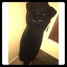 NWT BLACK SEQUIN DRAPE NECK DRESS by CYNTHIA ROWLEY (SIZE 8)