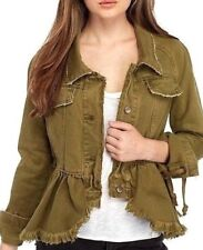cdbcaec692 People Willow Denim Flared Femme Military Jacket Black Small S
