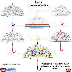 Kids Girls Boys Dome Umbrella Dinosaur Unicorn Transparent Reflective Border
