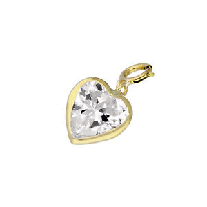 9ct Gold & Clear CZ Heart Clip on Charm Love Hearts 375 Charms Valentines