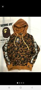 Bape x Mcm Collaboration Zip Up Brown Hoodie New and Authentic Large Supreme