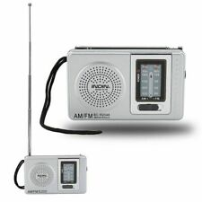 AM/FM Receiver Telescopic Antenna Battery Powered New Mini Portable Pocket Radio
