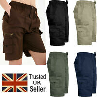 Mens Elasticated Casual Cargo Combat Shorts Summer Holiday Cotton Half Pants
