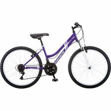 "Girls Mountain 24"" Bike 18 speed Bicycle Steel Roadmaster Womens Purple/White"