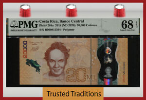 TT PK 284a 2018 COSTA RICA 20000 COLONES POLYMER PMG 68 EPQ SUPERB NONE FINER!