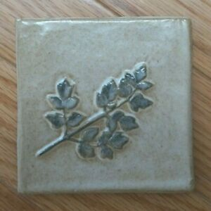 "Stoneware Relief Tile Kuilema Pottery 4"" Ivory w Blue Glaze NOS Hawthorne Leaves"