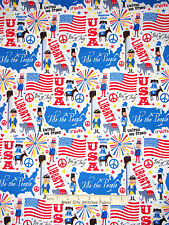 Patriotic Fabric - USA Flag Liberty Bell Peace C3131 Timeless Treasures - Yard