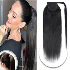 Silky Straight Wrap Around Clip On High Ponytail 100% Human Hair Extension 80G