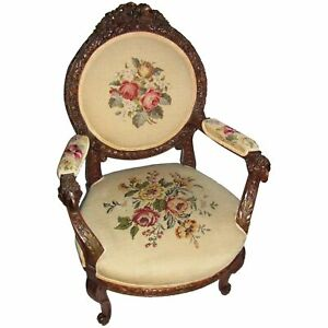 Antique American Walnut Carved Armchair with Needlepoint Upholstery Circa 1860
