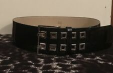 Cue Black Genuine Patent Leather Wide Belt - Silver -Large - $139