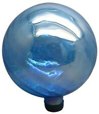 11.8 inch Blue Blown Glass Gazing Ball Stands Statues Garden Globe Ornament