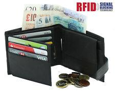 Para Hombre Para Cartera de Cuero Real de RFID con Bolsillo Con Cremallera Moneda Bolsa & ventana ID 895 Negro