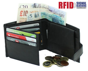 Mens RFID Real Leather Wallet With Zip Pocket Coin Pouch & ID Window 895 Black