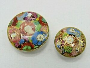 Vintage Satsuma (?) Ceramic Buttons Pretty Hand Painted Flowers Gold Accents