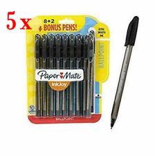 Lot of 5 Paper Mate InkJoy 1mm Medium Ballpoint Tip Pens,Black 10-Pens!