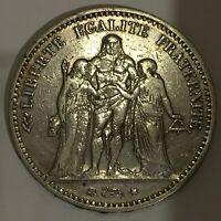 """1874-A FRANCE RÉPUBLIQUE 5 FRANCS COIN """"HERCULES  , VF-free combined S/H"""