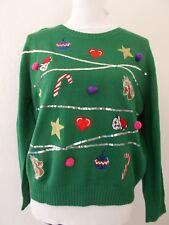 H&M Strick Weihnachts Pullover grün Pailletten L 42 44 NEU Pulli Weihnachten