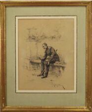 Original 19th C. French Soldier Drawing Signed Etienne Prosper Berne-Bellecoeur