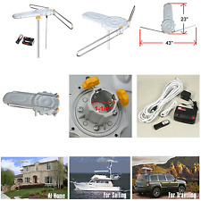 HDTV Outdoor Amplified Antenna HD TV 360° Rotor Remote UHF/VHF/FM 150 Miles