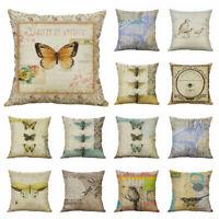 Bee Bird Linen Butterfly Decor 18'' Cover Home Case Throw Pillow Cotton Cushion