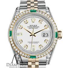 Mujer Rolex Acero Y ORO 31mm Datejust Reloj Blanco Emerald Diamante Dial